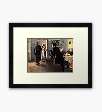 unexpected-visitors-, stylish man, home, childs Framed Print