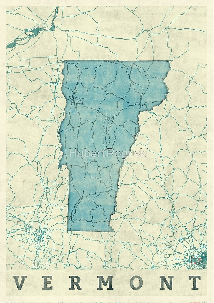 Vermont State Map Blue Vintage by HubertRoguski