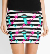 Rockstar Teal and Pink Microphone on Stripes Mini Skirt