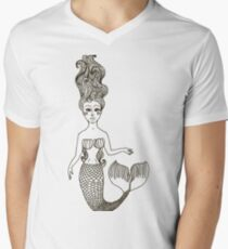 fairy Mermaid with long curly hair.  Mens V-Neck T-Shirt