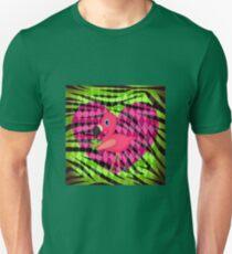 Pink Flamingo on Green Zebra Stripes Unisex T-Shirt