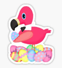 Pink Flamingo Easter Egg Bowtie Sticker
