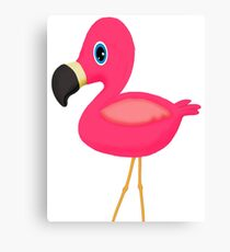 Cute Cartoon Flamingo Canvas Print