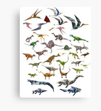 Colored Dinosaurs chart Canvas Print