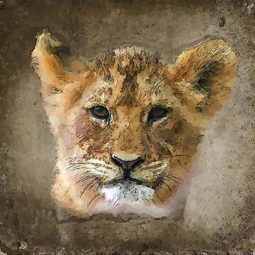 Lion Cub in Watercolor by carolv723