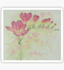 Red Freesia Flower Sprig in Coloured Pencil Sticker