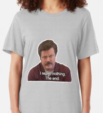 Ron Swanson- I Regret Nothing Slim Fit T-Shirt