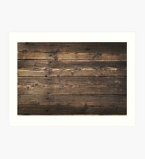 Wooden background. Texture with an old, rustic, brown planks Art Print