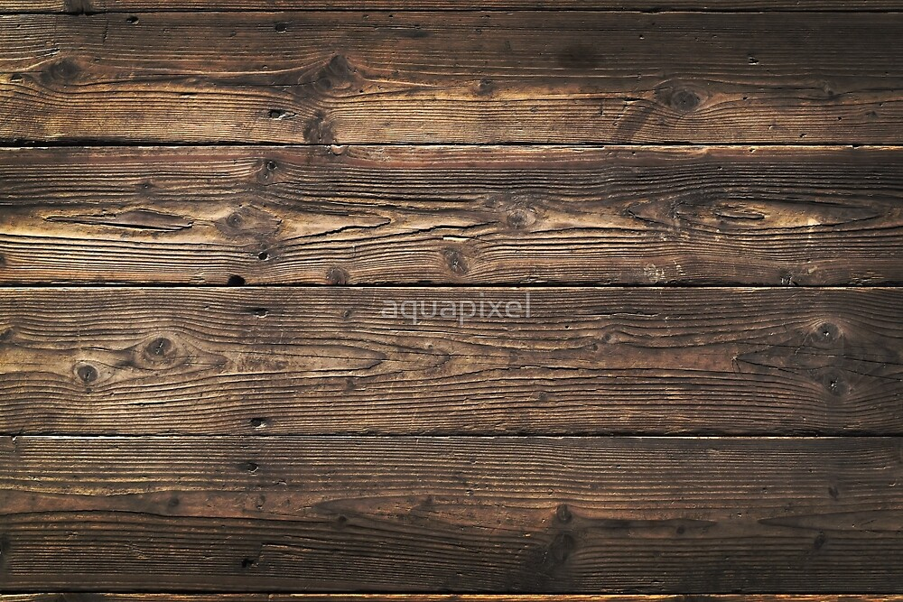 """""""Wooden background. Texture with an old, rustic, brown planks"""" by aquapixel 