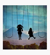 Friends on a Swingset Photographic Print