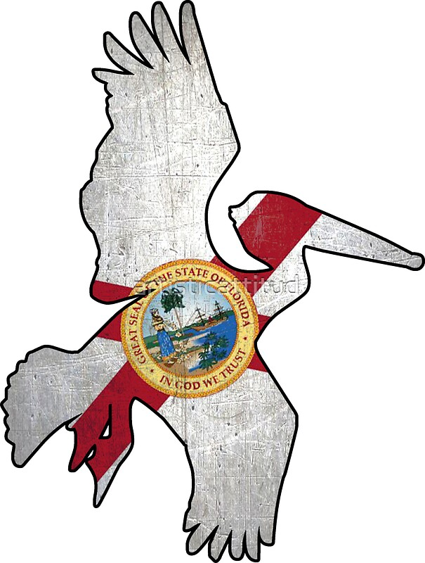 florida flag pelican outline stickers by artisticattitud redbubble