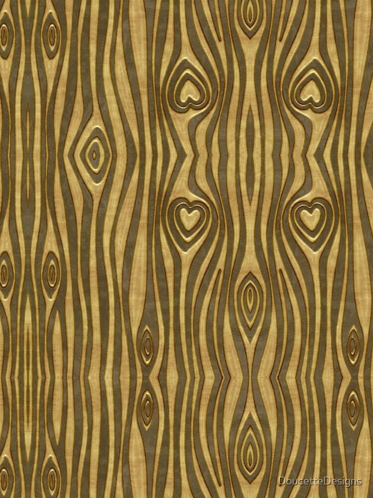 Golden Wood Grain Heart by DoucetteDesigns