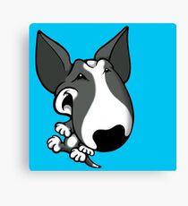 Fun Bull Terrier Cartoon Grey & White Canvas Print