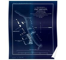 Civil War Maps 0386 Fort Johnston Smithville NC Evacuated Jan 16 1865 Taken possession of by naval and military forces Jan 17 1865 Inverted Poster