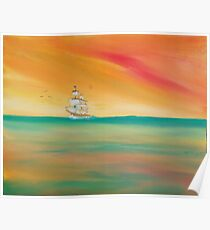 Sea birds greet a sailing ship. Poster