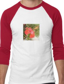 Beautiful Red Hibiscus Flower With Garden Background T-Shirt