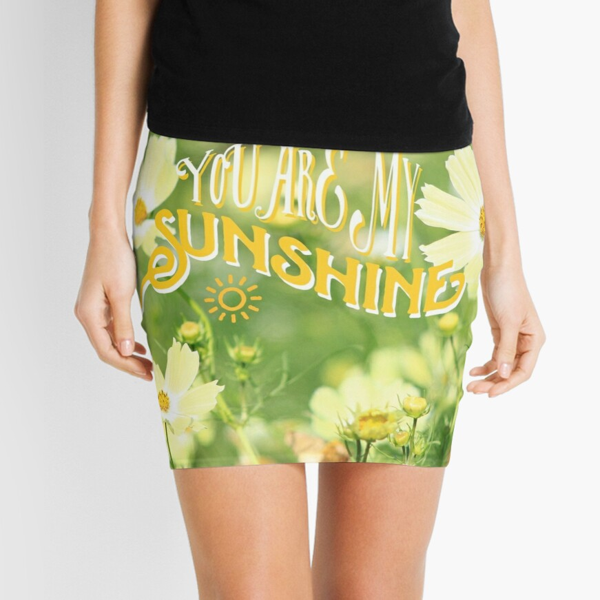 You Are My Sunshine Pretty Yellow Cosmos Flowers Mini Skirt Front