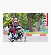 Scooter Lady Transports Flowers Hanoi Vietnam Photographic Print