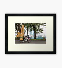 Scooter in Hanoi with long load Framed Print