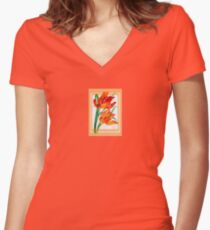 Birthday Wishes - Parrot Tulips Women's Fitted V-Neck T-Shirt