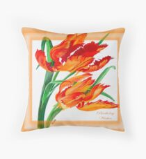 Birthday Wishes - Parrot Tulips Throw Pillow
