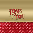 Love You Elegant Metallic Gold Quilted Red Leather by Beverly Claire Kaiya