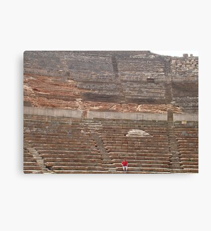 The Seated Spectator At Ephesus Ancient Theatre Canvas Print