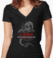 White Dragon Noodle Bar Women's Fitted V-Neck T-Shirt