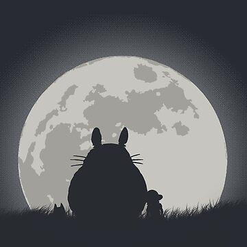 totoro Looking moon  by KokoBlacsquare