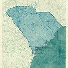 South Carolina State Map Blue Vintage by HubertRoguski