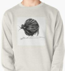 Girl with a bun Pullover Sweatshirt