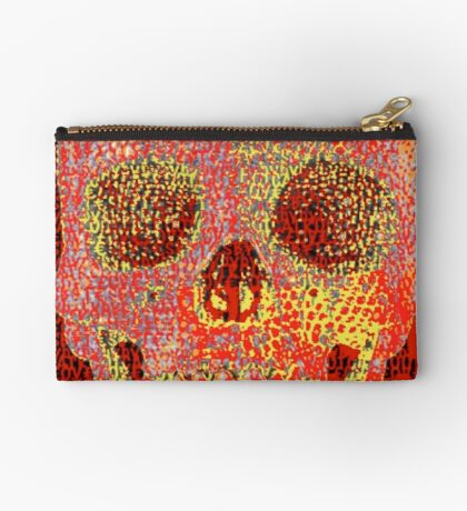pixilated skull 001 by #RootCat Studio Pouch