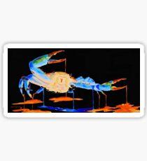 Blue Crab On Black Sticker