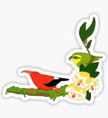Hawaiian birds 4 - Parrotbill and iiwi Sticker