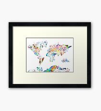 world map collage 4 Framed Print