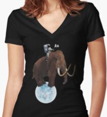 Astro Mammoth  Women's Fitted V-Neck T-Shirt
