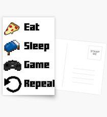 Eat, Sleep, Game, Repeat! 8bit Postcards