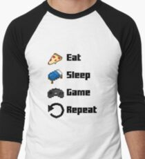 Eat, Sleep, Game, Repeat! 8bit Men's Baseball ¾ T-Shirt