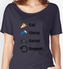 Eat, Sleep, Game, Repeat! 8bit Women's Relaxed Fit T-Shirt