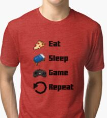 Eat, Sleep, Game, Repeat! 8bit Tri-blend T-Shirt