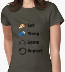 Eat, Sleep, Game, Repeat! 8bit Womens Fitted T-Shirt