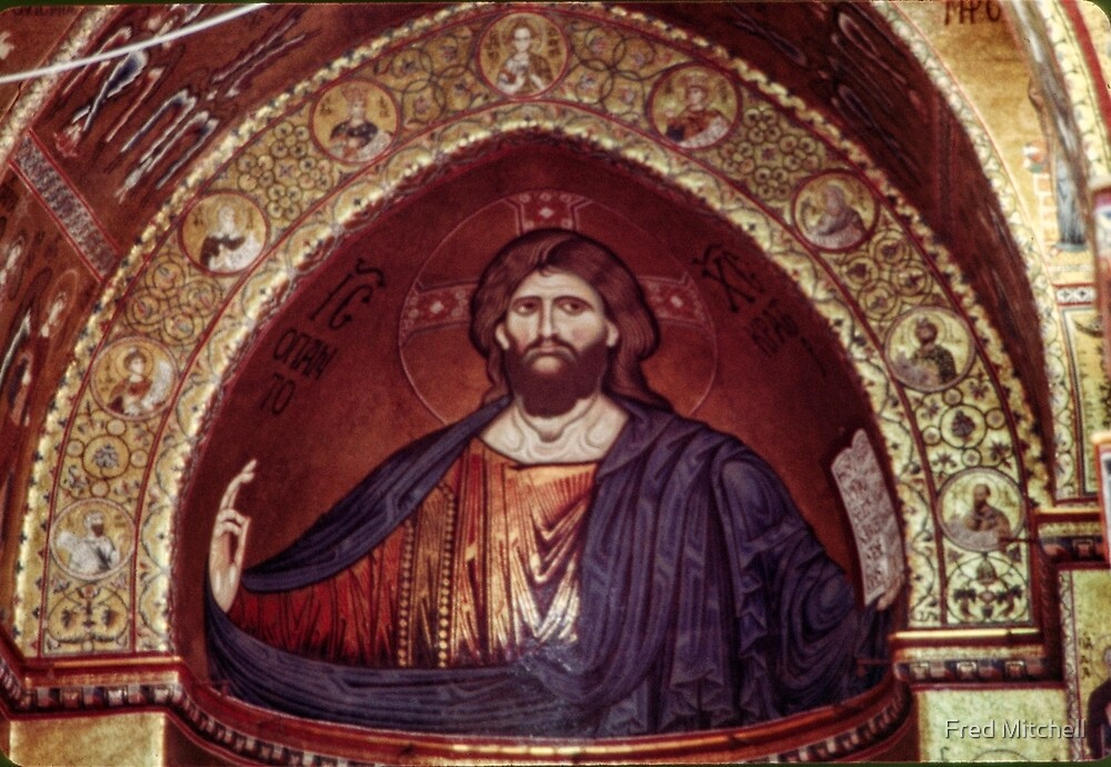 Christ mosaic in apse Monreale Palermo 19840325 0009 by Fred Mitchell