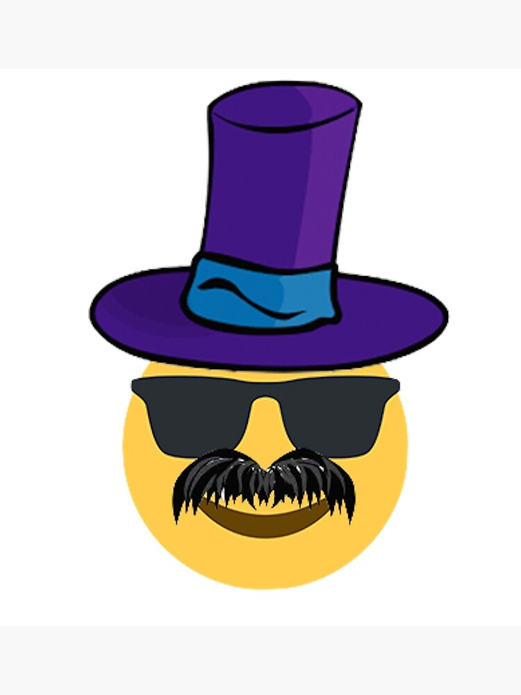 Emoji hat mustache guy | Photographic Print