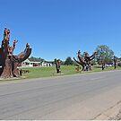Carved memorial trees, Legerwood, Tasmania by Margaret  Hyde