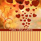 You Are Loved Glossy Candy Red Orange Hearts by Beverly Claire Kaiya