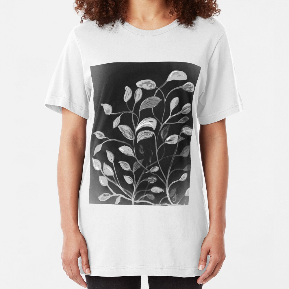 Red and Green Leaves! Monochrome Black and White and Grey Slim Fit T-Shirt