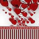 Luv Ya Glossy Candy Red Hearts Silver Swirl by Beverly Claire Kaiya