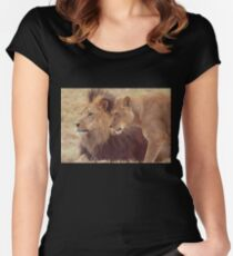 African Male Lion with Lioness Women's Fitted Scoop T-Shirt