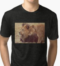 African Male Lion with Lioness Tri-blend T-Shirt