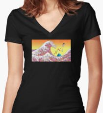 Japenese waves pink Women's Fitted V-Neck T-Shirt